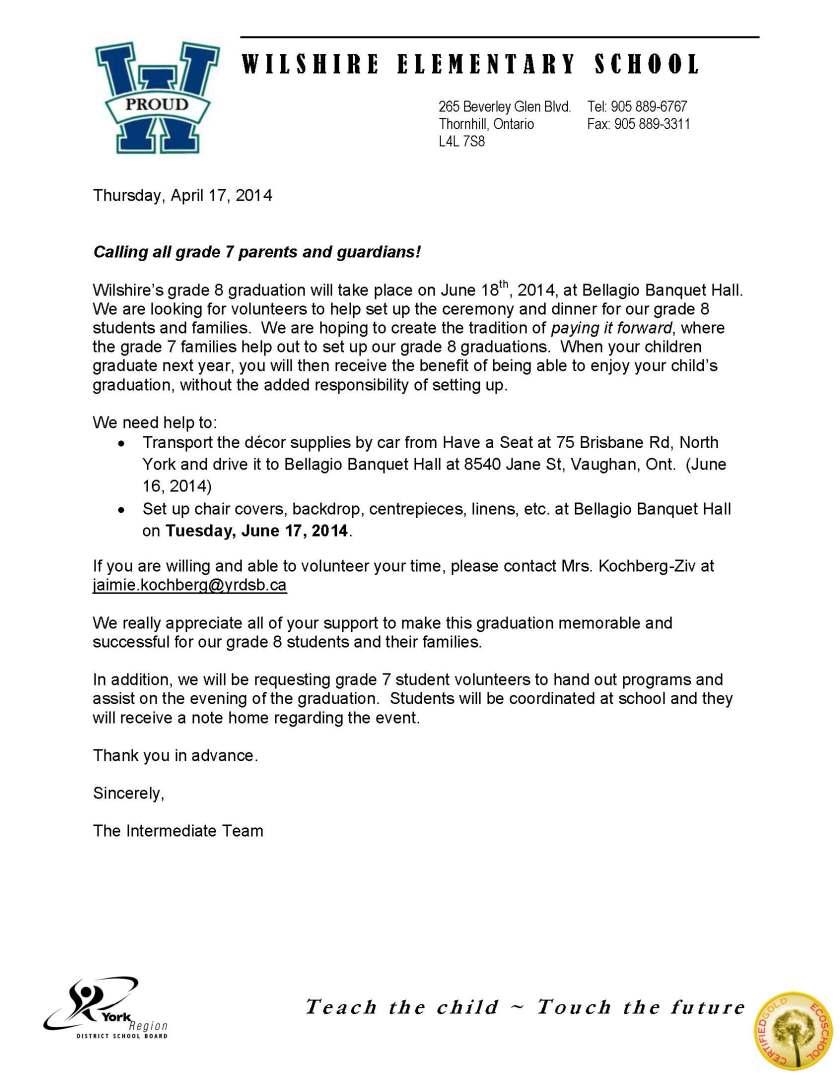 Grade 7 parent volunteer letter
