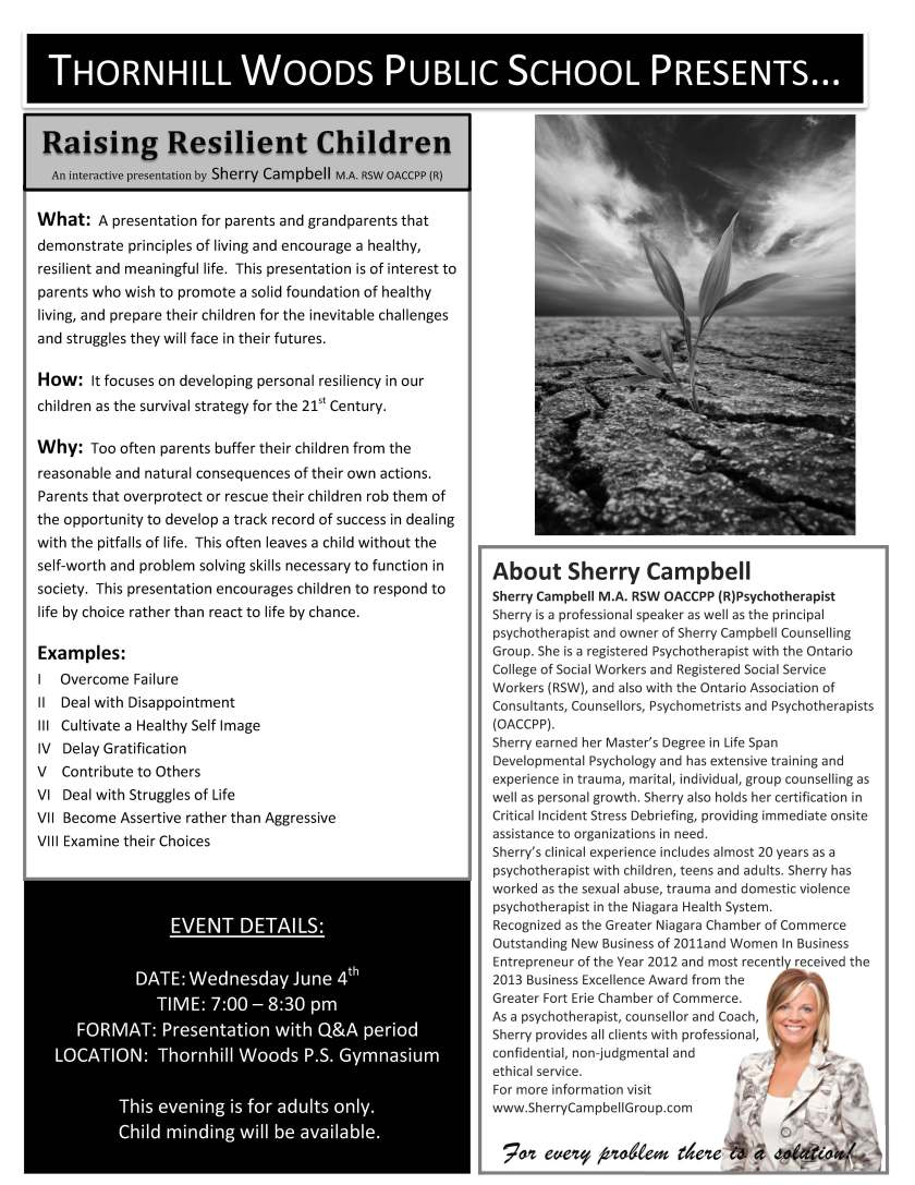 RAISING RESILIENT CHILDREN-PARENT PROMO FLYER