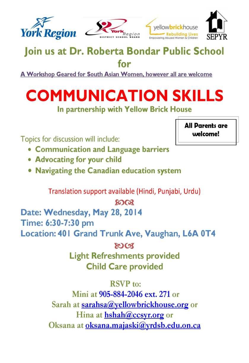 Roberta Bondar PS workshop-Communications May 28 2014