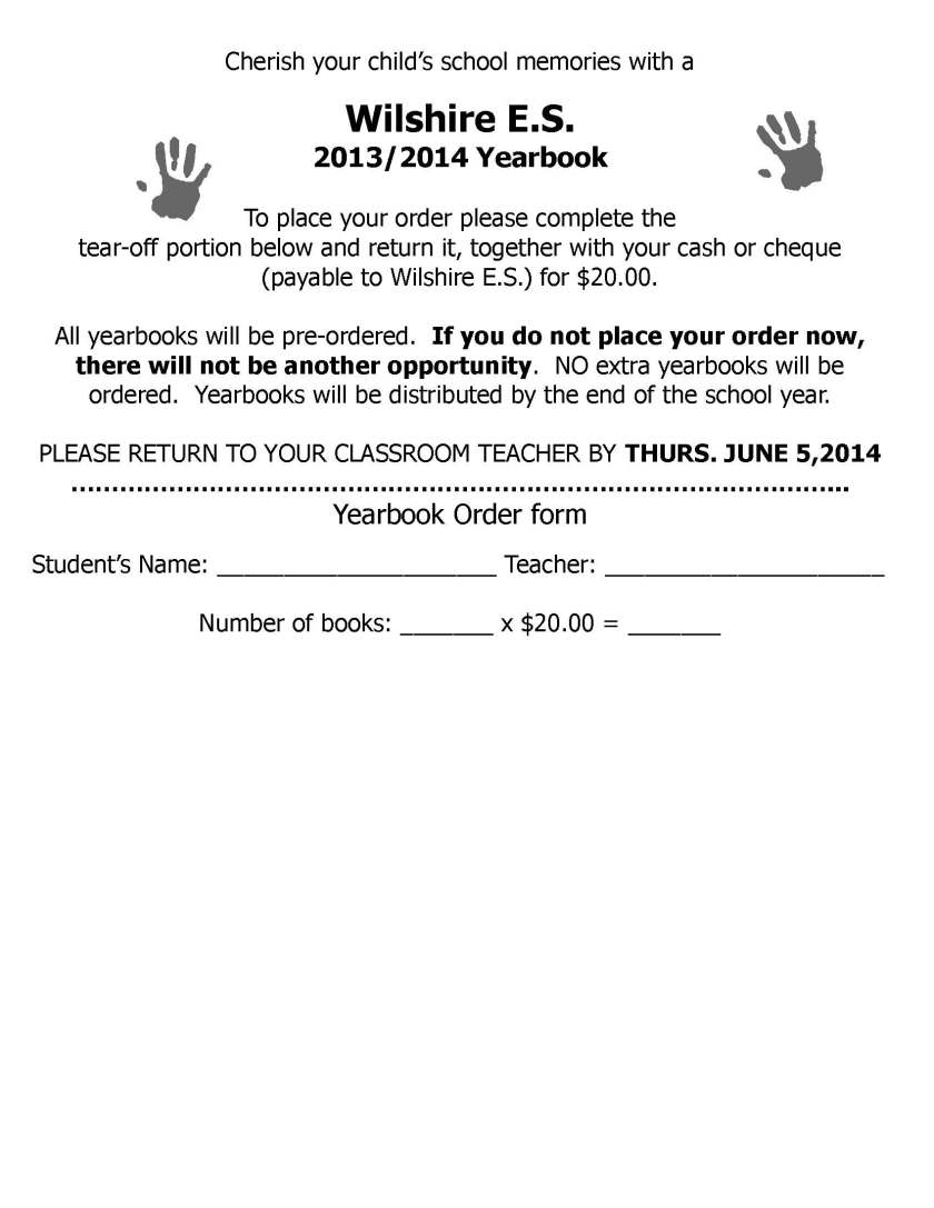 Wilshire Yearbook Order Form 2013-14