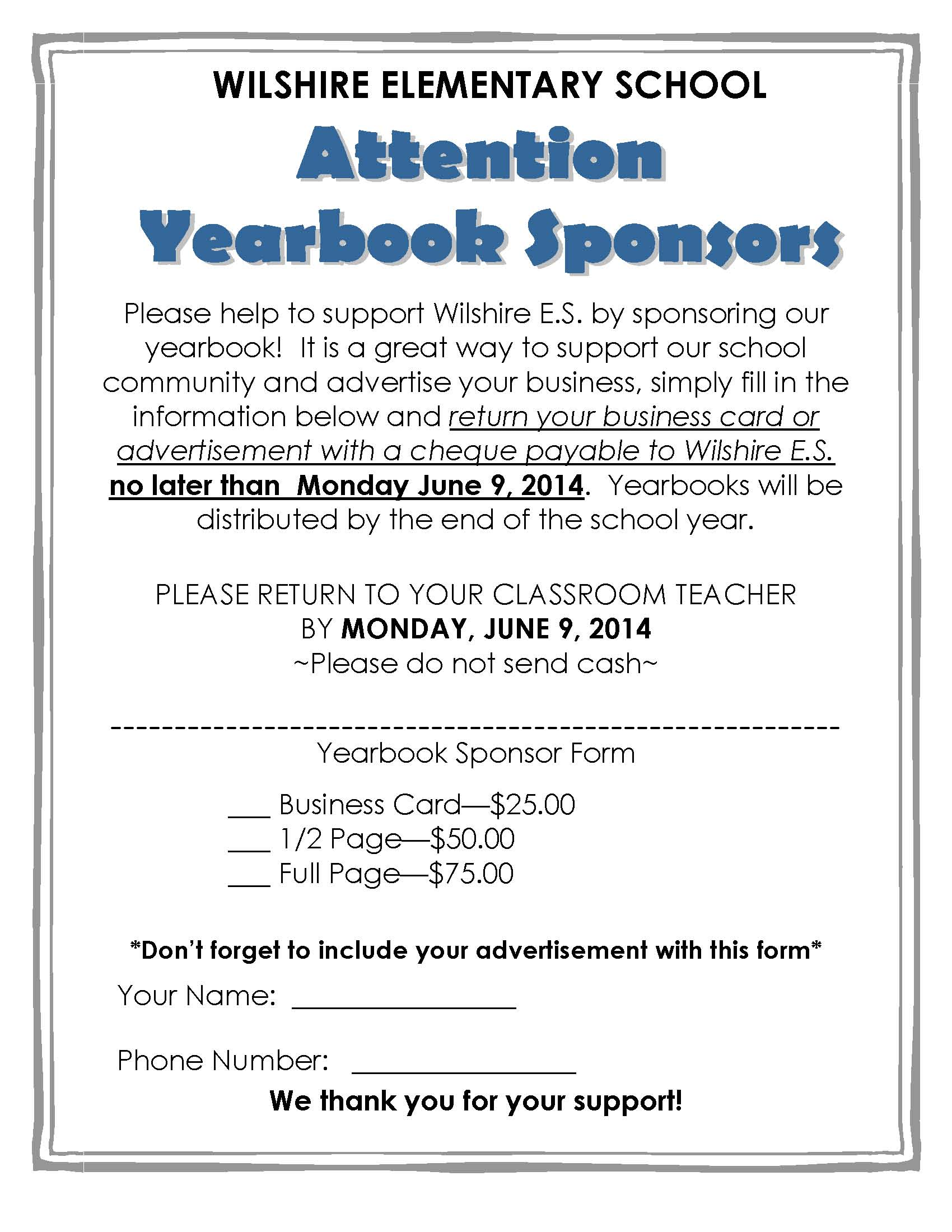Wilshire Yearbook Order Form 2013 14 Sponsor Letter