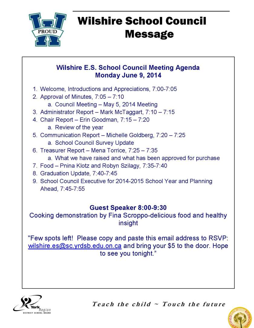 Wilshire  School Council Message Council June Meeting