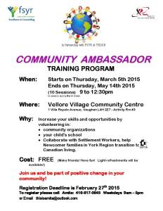 Community Ambassador Training Program Winter-Fall 2015