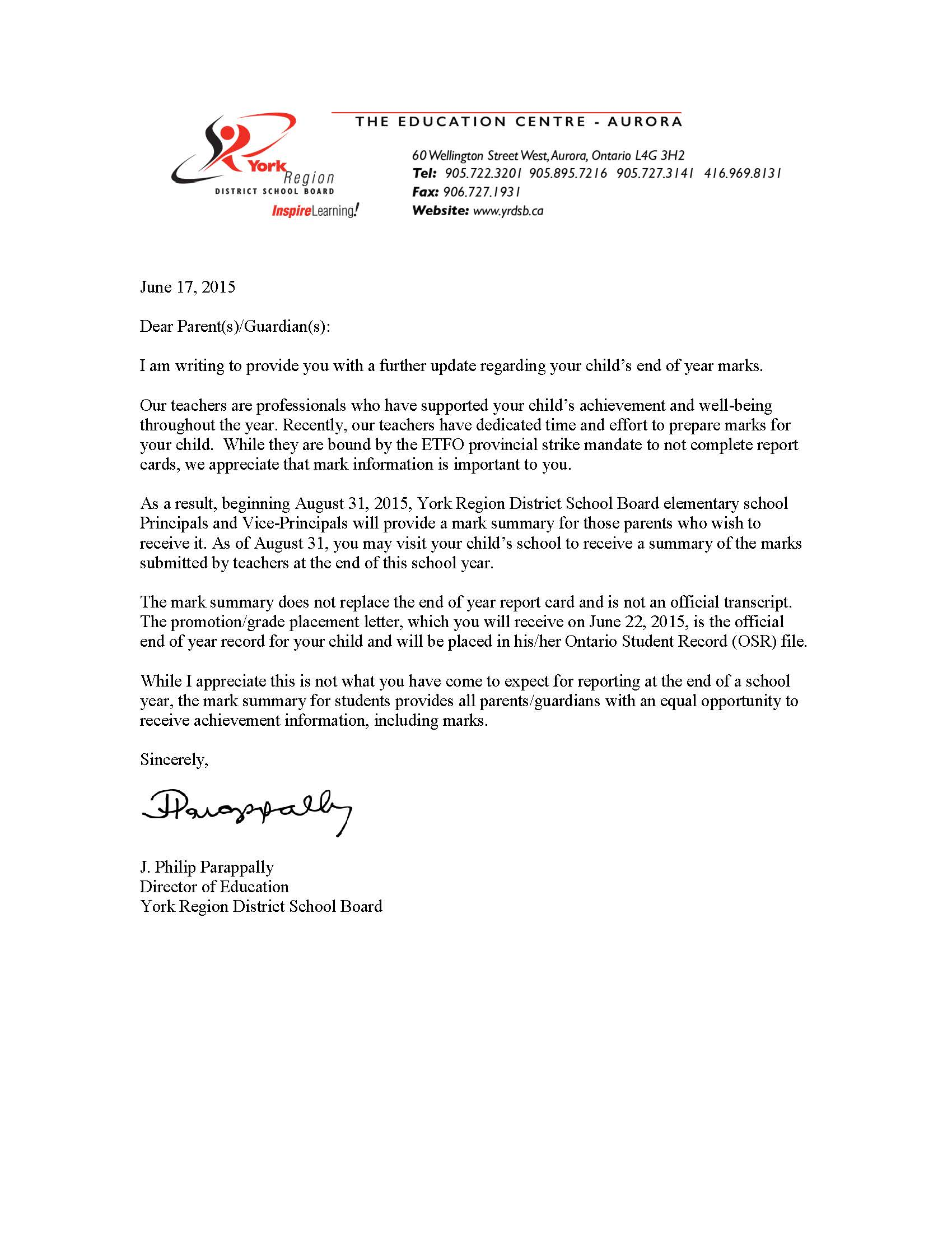 yrdsb promotion  grade placement letter  u0026 mark summary