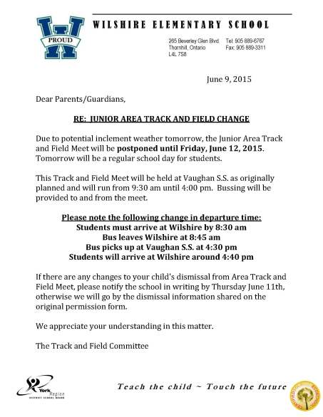 Track and Field postponed