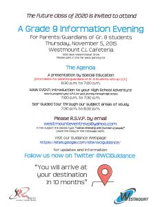 Westmount Grade 9 Information Night