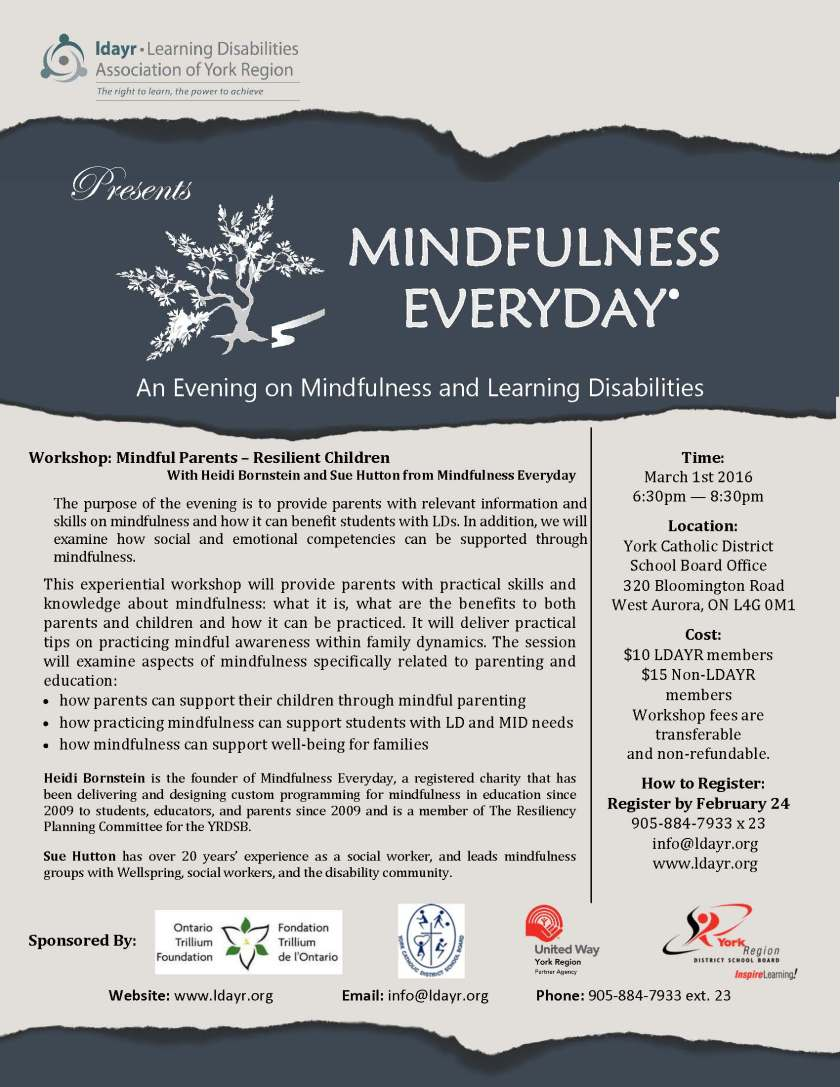 An Evening on Mindfulness and Learning Disabilites March 1