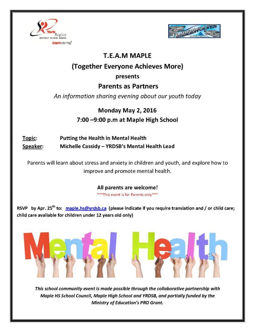 Parents as Partners Mental health presentation May 2