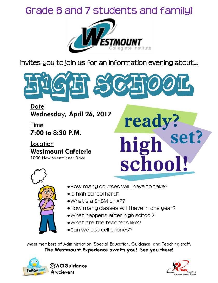 grade 6-7 info night 2017