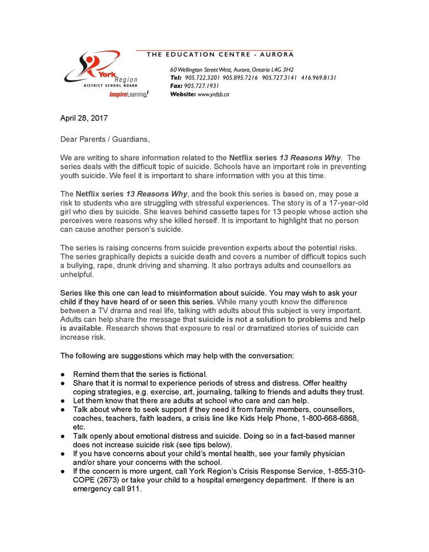 13 Reasons Why - YRDSB Family Letter - April 28 17_Page_1