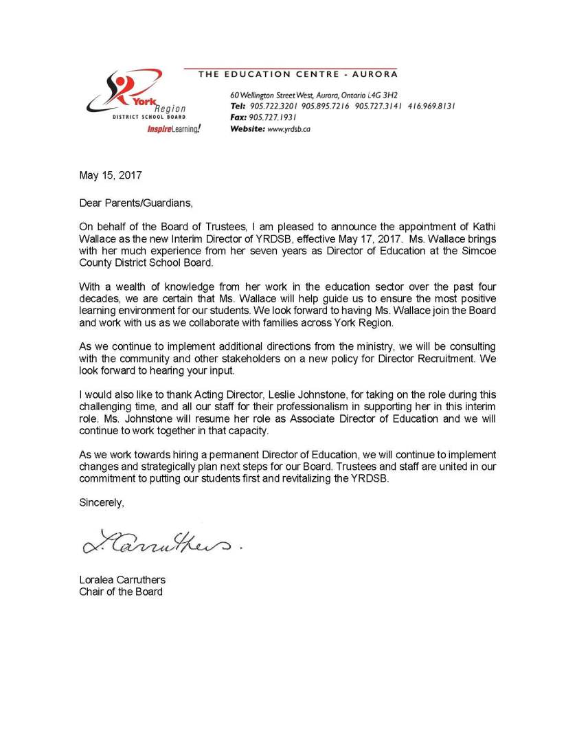 Letter to Parents - L Carruthers - May 12 2017