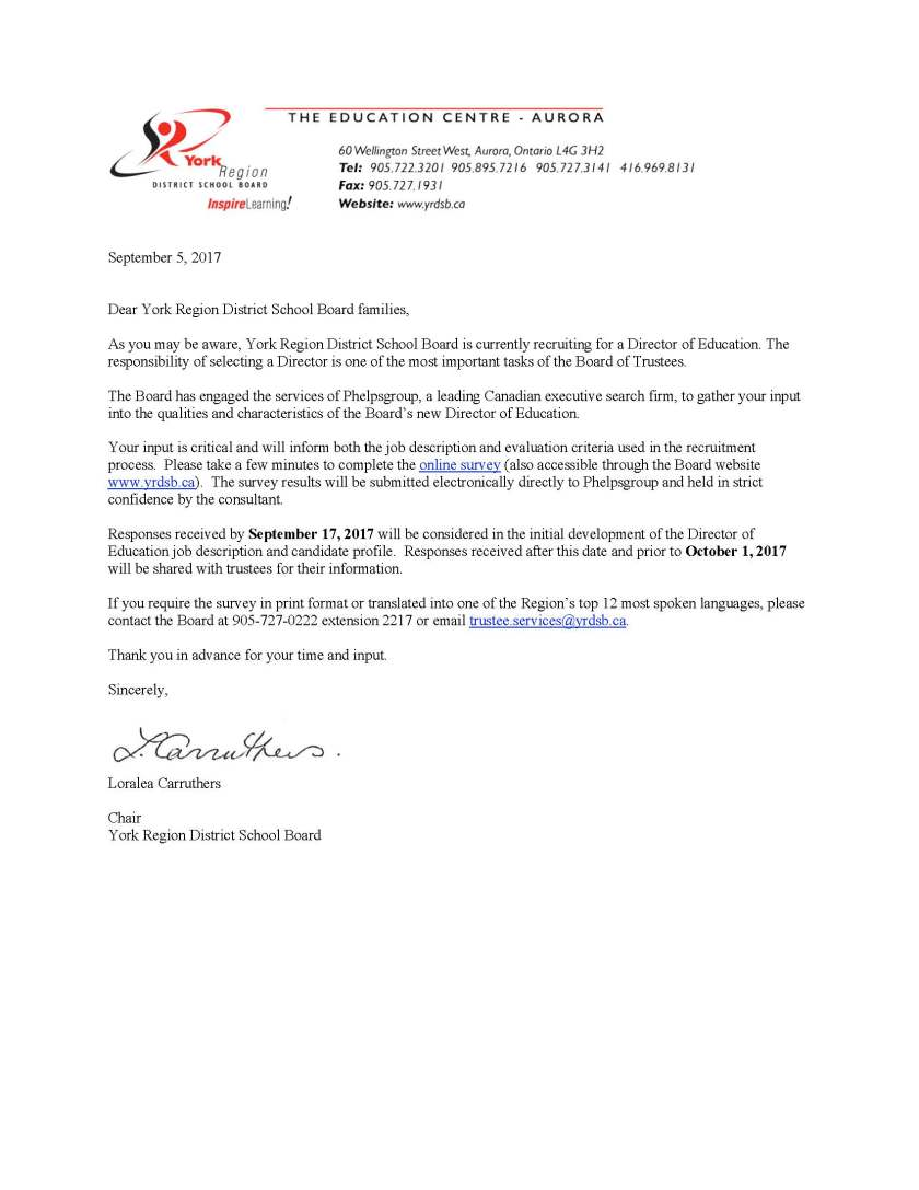 Letter to Families - Director of Education Selection
