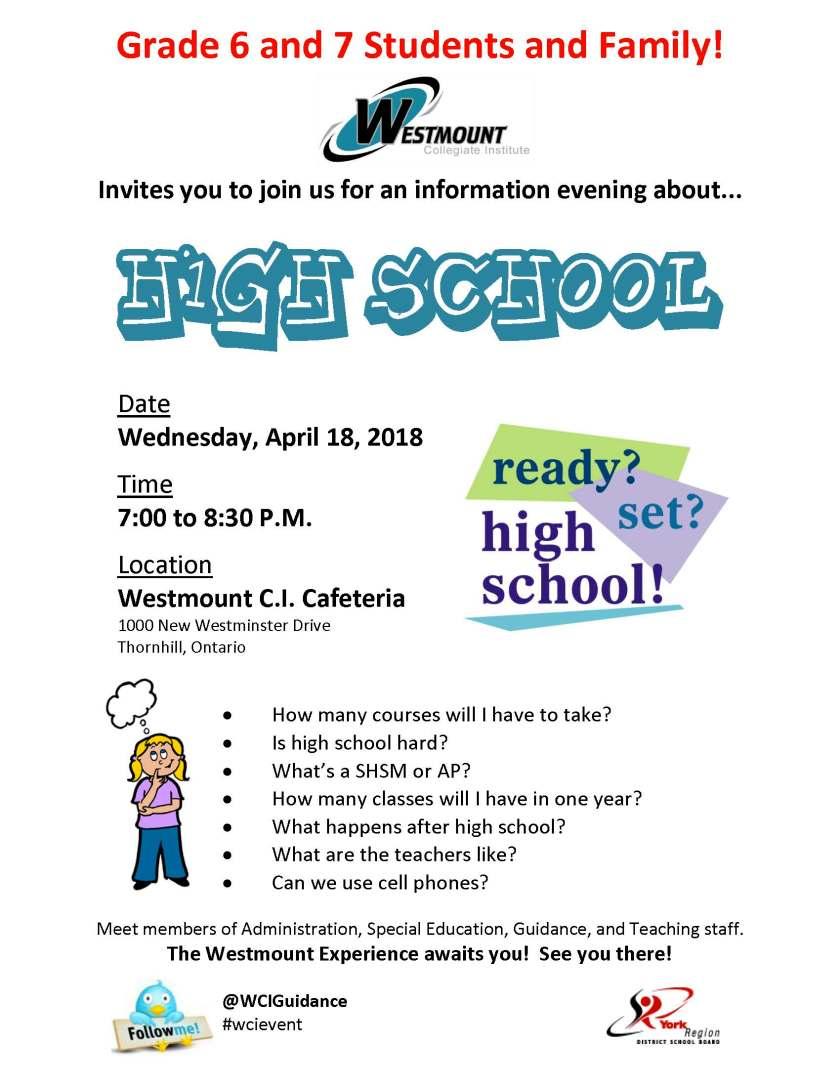grade 6-7 info night 2018