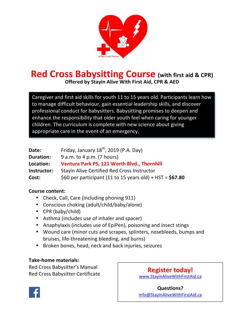 Ventura Park PS Red Cross Babysitting Course Flyer Jan18-1