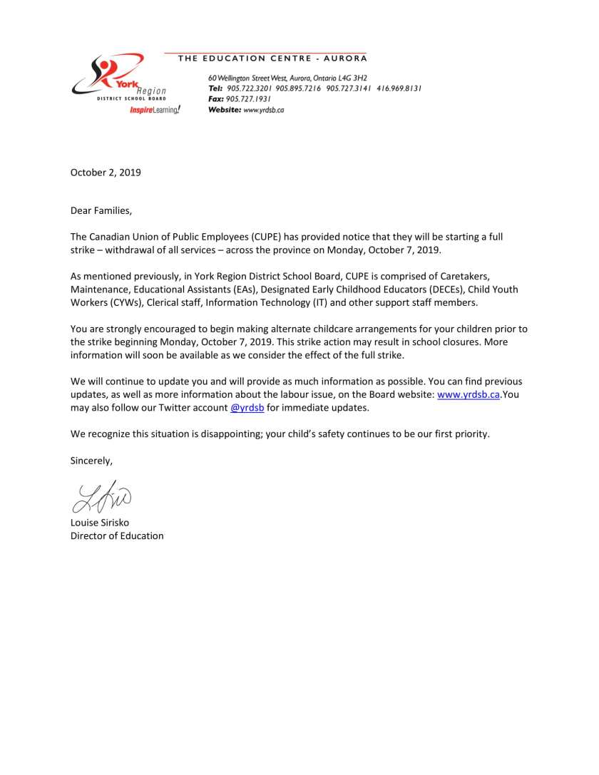 Letter to advise families of pending full withdrawal of services - CUPE - October 2, 2019-1